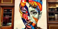 Brooklyn street artist Tristan Eaton installed a mural of Audrey Hepburn in Little Italy