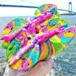Rainbow bagel with flavored, colored cream cheese
