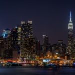 A view of Manhattan from across the Hudson River in Hamilton Park, Weehawken, NJ.
