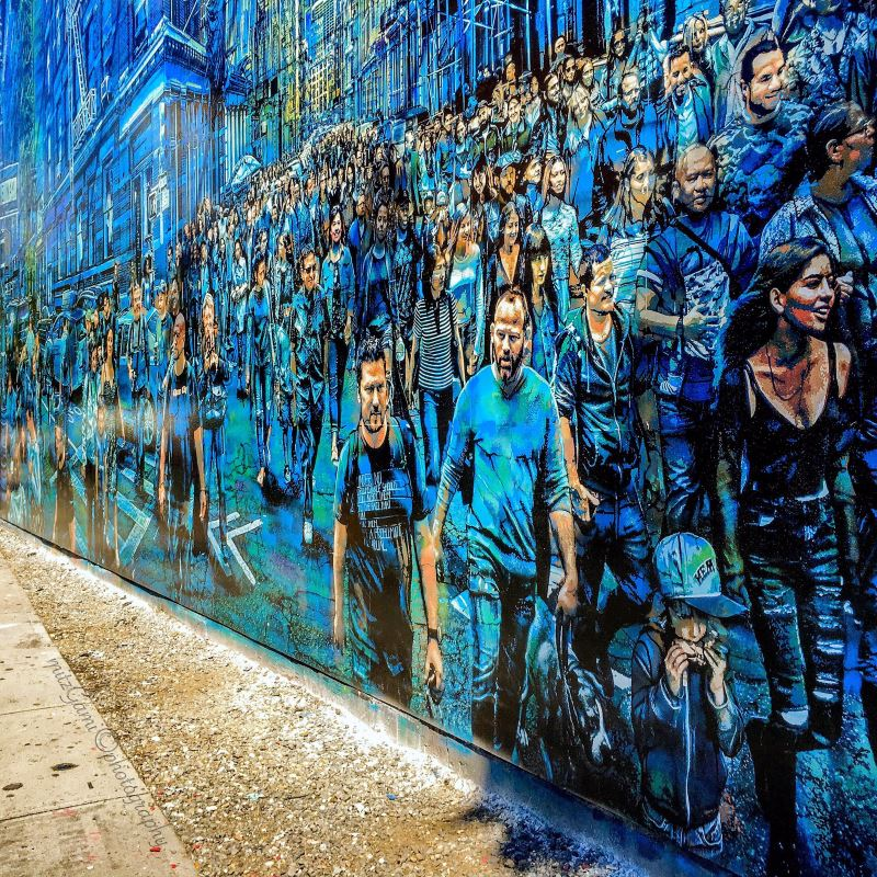 Cool street art by Logan Hicks at the Bowery Graffiti Wall