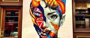 Brooklyn street artist Tristan Eaton installed a mural of Audrey Hepburn in Little Italy